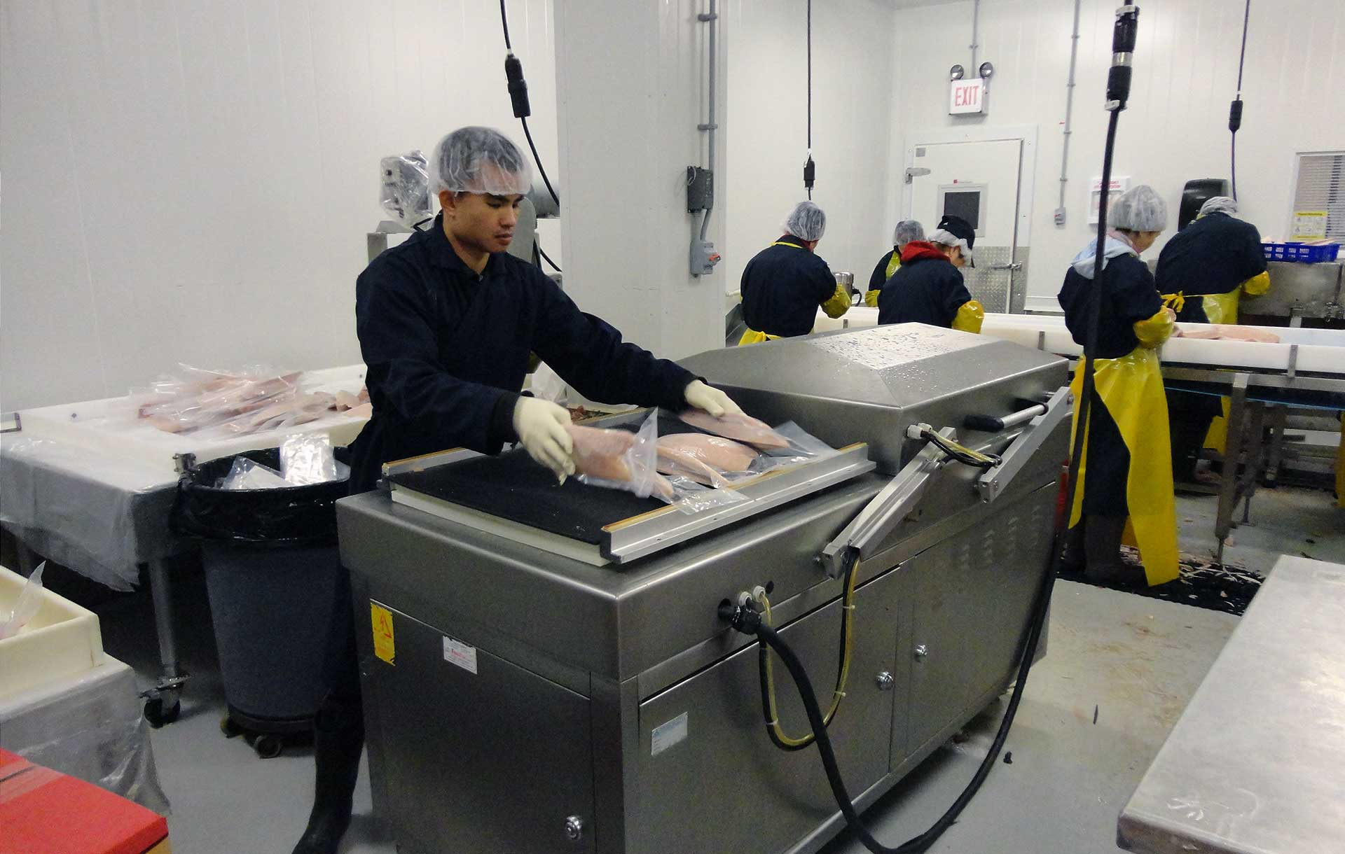 C2C tuna processing and packaging system.